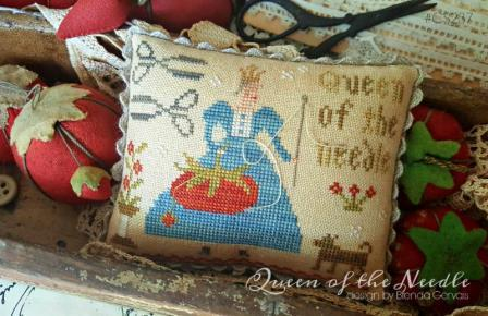With Thy Needle & Thread - Queen of the Needle-With Thy Needle  Thread - Queen of the Needle, tomato pin cushion, needlework, cross stitch