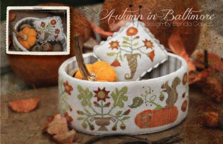 With Thy Needle & Thread - Autumn in Baltimore-With Thy Needle  Thread - Autumn in Baltimore, fall, squirrel, pumpkin, cross stitch
