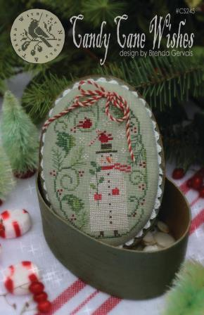 With Thy Needle & Thread - Candy Cane Wishes-With Thy Needle  Thread - Candy Cane Wishes, snowman, Christmas candy, cardinal, cross stitch
