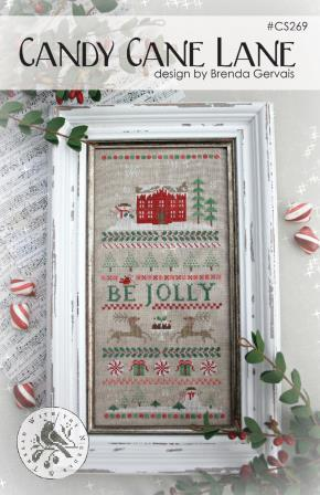 With Thy Needle & Thread - Candy Cane Lane-With Thy Needle  Thread - Candy Cane Lane, Christmas, peppermint, home, reindeer, house, snow, cross stitch