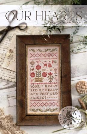 With Thy Needle & Thread - Our Hearts-With Thy Needle  Thread - Our Hearts, love, marriage, friends, bff, soul mate, cross stitch, sampler