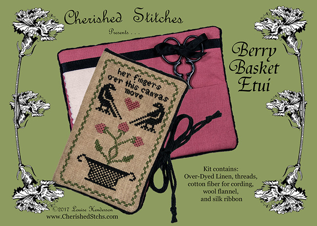 Cherished Stitches - Berry Basket Etui Limited Edition Kit-Cherished Stitches - Berry Basket Etui Limited Edition Kit, berries, needle keep, cross stitch