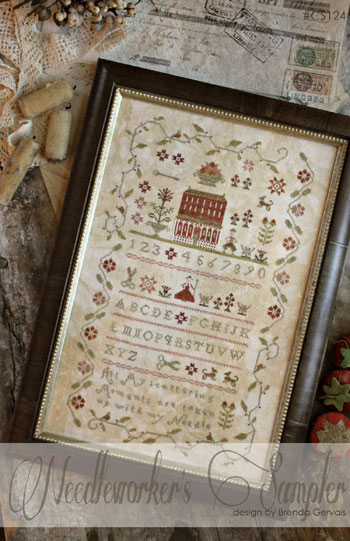 With Thy Needle & Thread - Needleworker's Sampler-With Thy Needle and Thread, Country Stitches, Needleworkers Sampler, scissors, alphabet, flowers, primitive, country, Cross Stitch Pattern