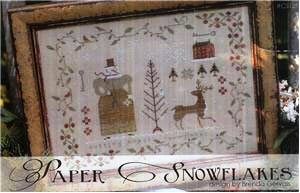 With Thy Needle & Thread - Paper Snowflakes-With Thy Needle  Thread - Paper Snowflakes, snowlady, scissors, snowflakes, deer, house, winter, cross stitch