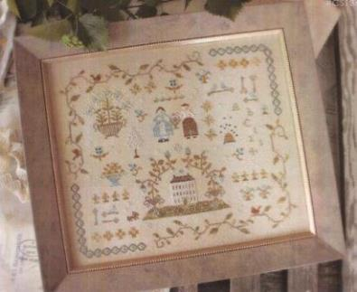 With Thy Needle & Thread - Heart of the Home Sampler-With Thy Needle  Thread, Country Stitches, Heart of the Home Sampler, Home Sweet Home, house, flowers, sampler, Cross Stitch Pattern