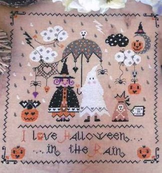Cuore e Batticuore - Halloween in the Rain-Cuore e Batticuore - Halloween in the Rain, trick or treat, pumpkins, bats, fall, candy, children, cross stitch