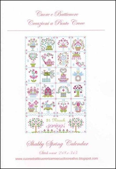 Cuore e Batticuore - Shabby Spring Calendar-Cuore e Batticuore - Shabby Spring Calendar, springtime, flowers, bunnies, cross stitch
