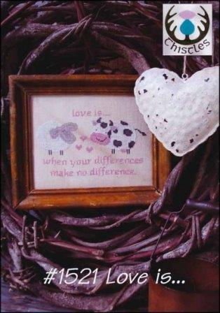 Thistles - Love is...-Thistles - Love is..., sweetheart, soul mate, hearts, cow, sheep, cross stitch