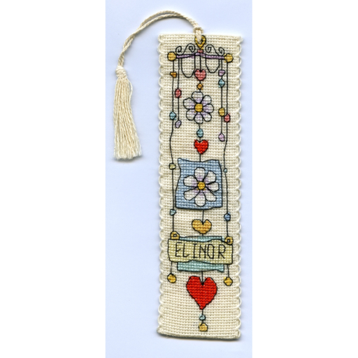 Michael Powell Art - String of Daisies Bookmark - Cross Stitch Kit-Michael Powell Art- String of Daisies Bookmark Kit, reading, flowers, cross stitch