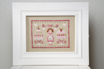Tralala - Dame Gateaux - Cross Stitch Chart-Tralala, Dame Gateaux, Lady cakes, baking, sweets, cupcakes, hearts, love,  Cross Stitch Chart