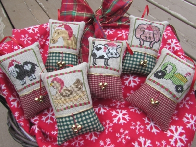 Designs by Lisa - Christmas on the Farm-Designs by Lisa - Christmas on the Farm, ANIMALS, cow, horse, chicken, pigs, sheep, tractor, cross stitch, ornaments,