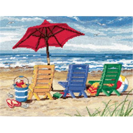Dimensions - Beach Chair Trio - Needlepoint Kit-Dimensions - Beach Chair Trio - Needlepoint Kit, ocean, chairs, sun, sand, wool,
