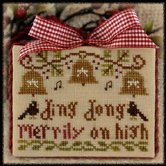 Little House Needleworks - Ornament of the Month 2012 - No. 05 - Ding Dong Merrily on High - Cross Stitch Chart-Little House Needleworks,Ornament,of, the, Month, 2012,No. 05,Ding,Dong,Merrily,on High,Cross, Stitch,Chart, bells, birds, Christmas, music, notes,