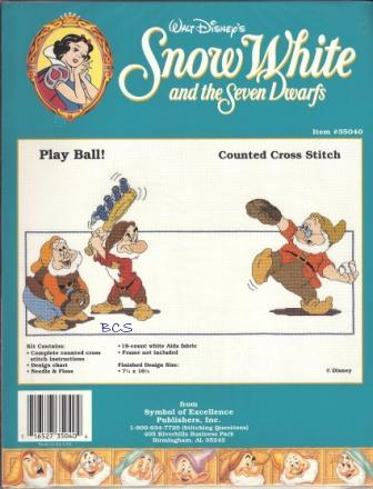 "Disney - Snow White and the Seven Dwarfs - ""Play Ball"" - Cross Stitch Kit-Disney, Snow White and the Seven Dwarfs,  Play Ball,  Cross Stitch Kit"