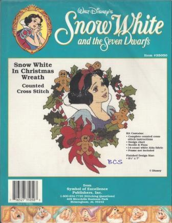 Disney - Snow White and the Seven Dwarfs - Snow White in Christmas Wreath - Cross Stitch Kit-Disney, Snow White and the Seven Dwarfs, Snow White in Christmas Wreath, Cross Stitch Kit