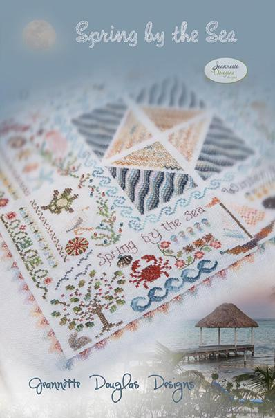 Jeannette Douglas Designs - Seasons by the Sea Part 1 - Spring by the Sea-Jeannette Douglas Designs - Seasonal Set 1 - Spring by the Sea, ocean, crabs, sealife, sampler, cross stitch