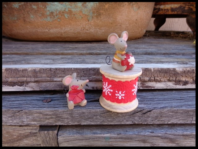 Faithwurks Designs - Merry Mice Spool Kit-Faithwurks Designs - Merry Mice Spool Kit, Christmas,mouse, ornaments, cross stitch, spool,