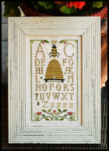 Little House Needleworks - Honeybee Sampling-Little House Needleworks - Honeybee Sampling, bee hive, bees, sampler, alphabet, flowers, cross stitch