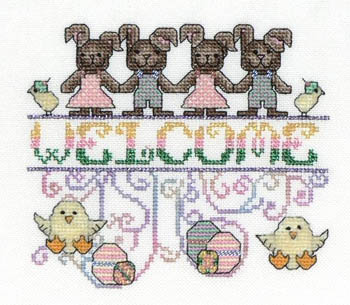 MarNic Designs - Easter Welcome - Funny Bunnies - Cross Stitch Chart-MarNic Designs - Easter Welcome - Funny Bunnies - Cross Stitch Chart