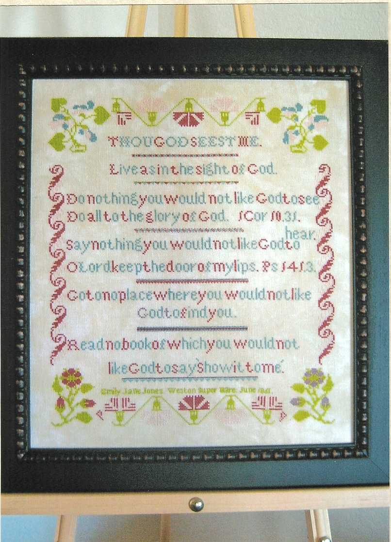 Samplers Revisited - Emily Jane Jones 1861 - Cross Stitch Pattern-Samplers,Revisited,Emily, Jane, Jones, 1861,Cross, Stitch, Pattern, God, flowers, girl, sewing, learning, 1 corinthians 10.31, psalms, 141.3, bible, verse