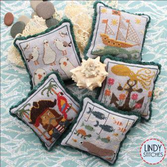Lindy Stitches - Saltwater Scrapbook Part 2-Lindy Stitches - Saltwater Scrapbook Part 2, ocean, marine life, sand, pin cushions, sailboat, octopus, mermaid, cross stitch