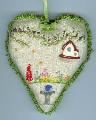 Faithwurks Designs - Garden Heart Series - Part 1 - Summer Garden Heart - Cross Stitch Pattern-Faithwurks Designs, Garden Heart Series Part 1 Summer Garden Heart, flowers, hearts,bird house,  faith, praise, Cross Stitch Pattern