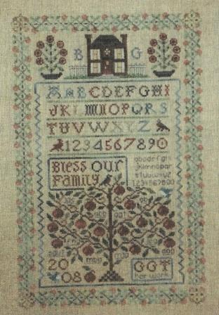 The Sewing Circle - Family Samplers I & II - Cross Stitch Patterns-The Sewing Circle, Family Samplers I & II, house, family tree, family names, initials, birds, year of birth, year of marriage, year of death,  Cross Stitch Patterns
