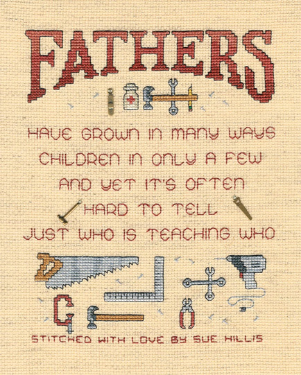 Sue Hillis Designs - Fathers - Cross Stitch Pattern with charms-Sue Hillis Designs, Fathers  with charms, Counted Cross Stitch Chart,