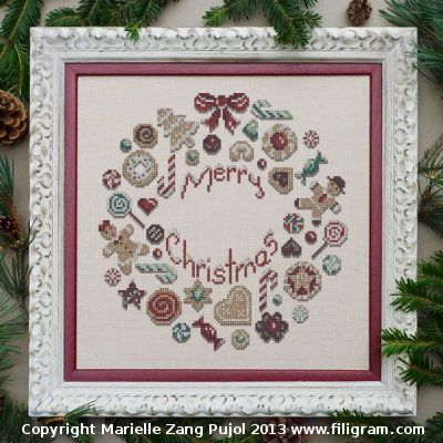 Filigram - Christmas Cookies Collection - Cookies Christmas Wreath - Cross Stitch Pattern-Filigram, Christmas Cookies Collection, Cookies Christmas Wreath, merry christmas, gingerbread man, christmas bow, christmas candy, Cross Stitch Pattern