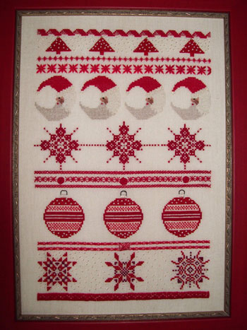 FireCracker Needleworks - Christmas in Red - Cross Stitch Pattern-FireCracker Needleworks, Christmas in Red, sampler, Christmas designs, ornaments, sparkles, - Cross Stitch Patterns