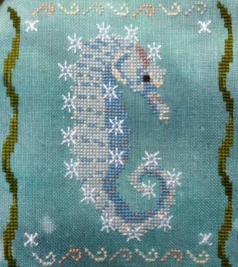 Fireside Originals - A Year of Seahorses 01 - January - Snowflake-Fireside Originals - Seahorse of the Month - January, Snowflake, seahorse, fish, cross stitch