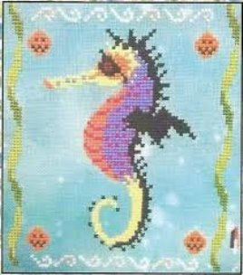 Fireside Originals - A Year of Seahorses 10 - October-Fireside Originals - A Year of Seahorses 10 - October, fish, ocean,  cross stitch