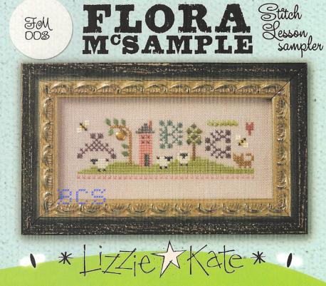 Lizzie Kate - Flora McSample - Stitch Lesson Sampler - Cross Stitch Kit-Lizzie Kate,  Flora McSample,  Stitch Lesson Sampler, sewing, instructions, school, Cross Stitch Kit