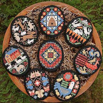 Prairie Schooler - Folk Eggs-Prairie Schooler - Folk Eggs, Easter,  Cross Stitch Chart