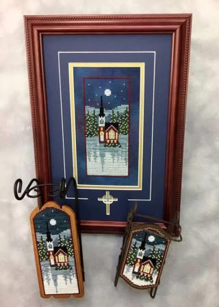 Foxwood Crossings - River Road Church-Foxwood Crossings - River Road Church, church, night, cross stitch