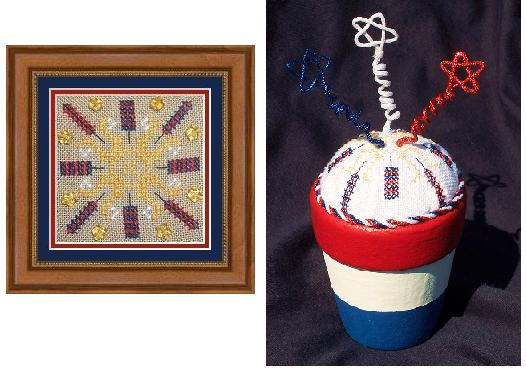 Flowers 2 Flowers - Patriotic Square & Pincushion - Cross Stitch Pattern
