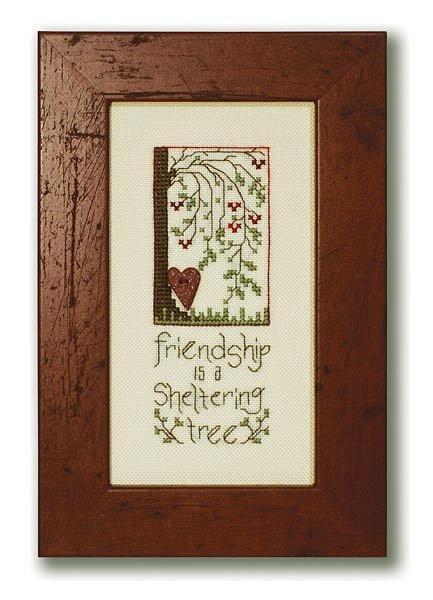 Stoney Creek - Sheltering Tree - Cross Stitch Chart with Heart Button-Stoney Creek Sheltering Tree Cross Stitch Chart with Heart Button