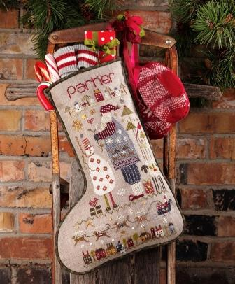 Shepherd's Bush - Stockings - Parker's Stocking-Shepherds Bush - Stockings - Parkers Stocking, Christmas, Santa Claus, fireplace, hanging, gifts, cross stitch