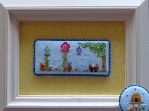 Faithwurks Designs - Tee Tiny Seasons -Spring-Faithwurks Designs - Tee Tiny Seasons -Spring, flowers, bird house, 2021 Needlework Expo, cross stitch