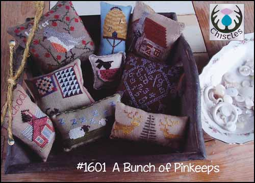 Thistles - A Bunch of Pinkeeps-Thistles - A Bunch of Pinkeeps, smalls, pin cushions, sheep, beehive, house, birds, Christmas tree, cross stitch