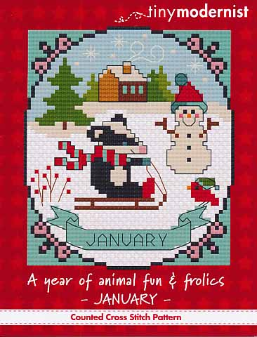 Tiny Modernist - A Year of Animal Fun & Frolics 01 - January-Tiny Modernist - A Year of Animal Fun  Frolics 01 - January, snowman, winter, sledding, cross stitch
