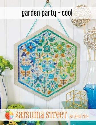 Satsuma Street - Garden Party - Cool-Satsuma Street - Garden Party - Cool, blues, flowers, cross stitch