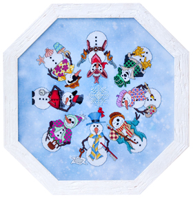 Glendon Place - Snowmen A La Round - Cross Stitch Pattern