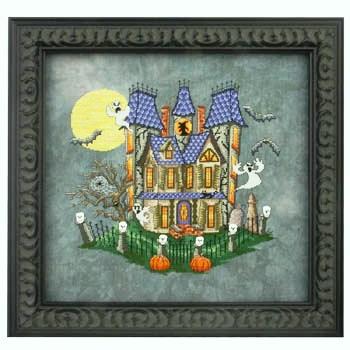 Glendon Place - Murky Manor-Glendon Place, Murky Manor, haunted house, ghost, bats, full moon, pumpkin, skulls, spider webs, trick or treat, Cross Stitch Pattern