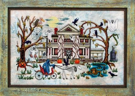 Glendon Place - Phantom Plantation-Glendon Place - Phantom Plantation, Halloween, haunted house, ghost, black cats, zombies, cross stitch