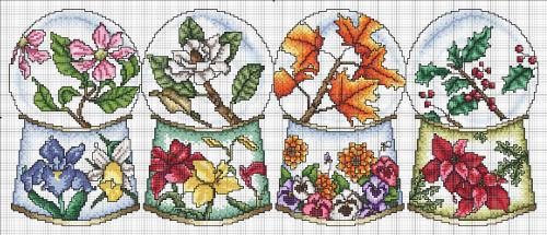 Vickery Collection - Seasonal Globes - Cross Stitch Pattern-Vickery,Collection, Seasonal,Globes,Cross, Stitch,Pattern, snow globe,flowers, fall, winter, spring, summer,16 ct white aida, DMC