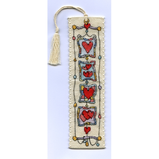 Michael Powell Art - Harlequinn Hearts Bookmark - Cross Stitch Kit-Michael Powell Art - Harlequinn Hearts Bookmark Kit, hearts, love, reading, cross stitch