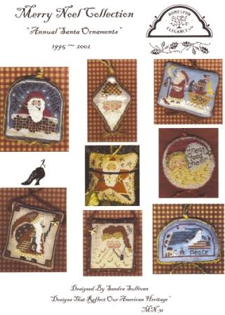 Homespun Elegance - Merry Noel Collection - Annual Santa Ornaments - 1995-2002-Homespun Elegance, Merry Noel Collection, Annual Santa Ornaments,1995-2002,Cross Stitch Patterns
