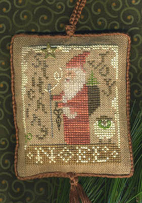 Homespun Elegance - 2010 Santa Ornament - Stitching Joy-Homespun Elegance, Santa Ornament 2010,  Stitching Joy, Cross Stitch Pattern