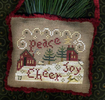 Homespun Elegance - 2012 Sampler Ornament - Spirit of Christmas-Homespun Elegance, Sampler Ornament 2012, Spirit of Christmas, cheer, joy, peace, homes, winter, snow, pine trees,chimney smoke, Cross Stitch Pattern